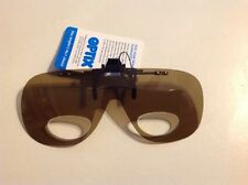 BOX OF 12 OPTIX ANGLERS CLIP ON SUNGLASSES WITH X3 MAGNIFIERS (AMBER LENS )