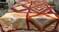Very Rare & Beautiful Vintage NC Funeral (Ribbon) Quilt * Queen/King Size *