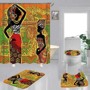African Art Print Shower Curtain Bath Mat Toilet Cover Rug Bathroom Decor