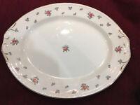 """Vintage Homer Laughlin Rambler Rose Oval Platter 13.5"""" Georgian Eggshell"""