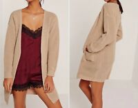Missguided Light Brown Slouchy Basic Pocket Knitted Cardigan - S
