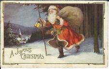 BA-124 A Joyous Christmas, Santa Claus with Sack, Staff Lantern 1915-30 Postcard