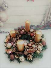 Advent Christmas Centerpiece, Gold and Brown winter wreath, Christmas wreath