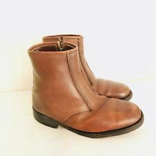 Rambler Mens Boots Brown Fur Lined Round Toe Side Zip Made In England 6 E