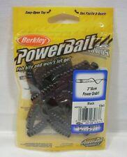 "Berkley Powerbait 3"" Black Power Grubs Soft Plastic Package 15ct Fishing Bait"