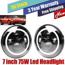 """2x 7"""" CREE LED Headlights Chrome Upgrade DRL H4-H13 High/Low Kit for Porsche 944"""