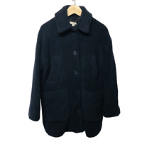 Whistles Navy Teddy Wool Blend Lumber Jacket Size Small New RRP £195.00