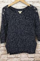 Lucky Brand sweater womens small navy button shoulder boat neck 3/4 slv hi lo H6