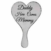 Daddy Here Comes Mummy Wooden Wedding Hand Held Sign Plaque R3X8