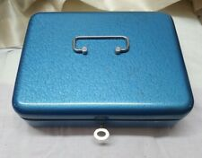 Blue Metal Cash Box. With Key