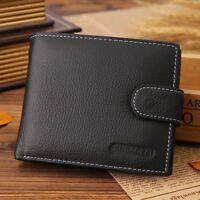 Mens Genuine Leather RFID Blocking Bifold Wallet ID Credit Card Holder Purse