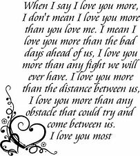 I Love You More Wall Sticker Wall Art Decor Vinyl Decal Stickers Wall Lettering