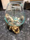Ornamental Home Decor Molten Glass On Wood - Large Bowl 20cm X 20cm X 18cm High