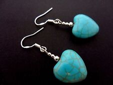 A PAIR OF TURQUOISE HEART EARRINGS WITH 925 SOLID SILVER HOOKS. NEW..