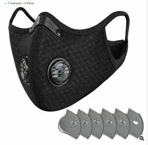 Masque Protection lavable en Nylon avec valve + 6 Filtres Rechange