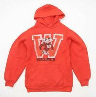 Artex Mens Size S Cotton Blend Graphic Red Wisconsin Hoodie
