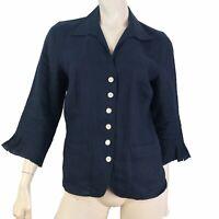 Talbots Irish Linen Top Women Size 10 Blouse Button V Neck 3/4 Sleeve Navy Blue