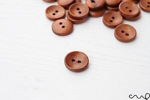 15mm 24L Small Round Brown Wooden Button 2-Holes Sewing Embellishment Craft VAT