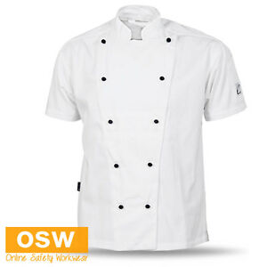 MENS LADIES WHITE 100% COTTON CHEF JACKET BREATHABLE AIR VENTED RESTAURANT