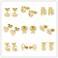 Fashion 14k Yellow Gold Plated Stainless Steel Stud Earrings Wedding Jewelry