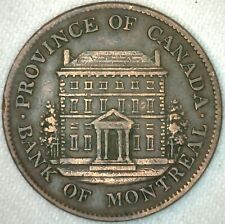 1844 Province of Canada Token Bank Note Half Penny 1/2 Cent Bank of Montreal K10