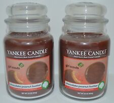 2 YANKEE CANDLE CHOCOLATE PEANUT BUTTER JAR CANDLE 22 OZ LARGE GIRL SCOUT COOKIE