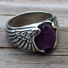 Eagle Wing Ring Sterling Silver Sz 11 w/ Genuine Natural Amethyst Gemstone