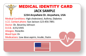 Medical ID card customized and printed in full color with your information