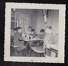 Antique Vintage Photograph Cute Little Boys Sitting At Tables in Retro Kitchen