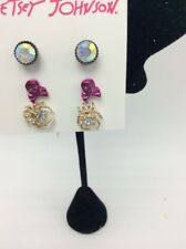$28 Betsey Johnson Set Of 3 Earrings Spider Skull & Crossbones Rhinestone JB121