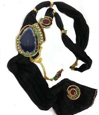 BLACK SILK NECKLACE WITH NATURAL STONES