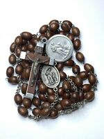 "† VINTAGE 7 DECADE XL FRANCISCAN WOOD ROSARY ST FRANCIS ANTHONY MEDAL 42 1/2"""" †"