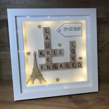 Caja De Luz Led Personalizados Marco Scrabble involucrados en París Torre Eiffel Regalo