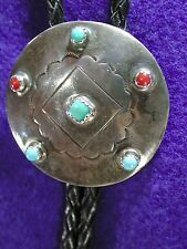 Pre-Owned Vintage Native American Navajo Sterling,Coral, and Turquoise Bolo Tie