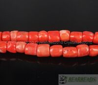 Natural Orange Coral Gemstone Chunky 12mm - 13mm Tube Spacer Loose Beads 16""