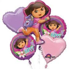 Dora The Explorer Happy Birthday Party Favor 5CT Foil Balloon Bouquet