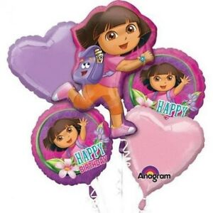 Dora The Explorer Happy Birthday Balloons Favor 5CT Foil Mylar Balloon Bouquet
