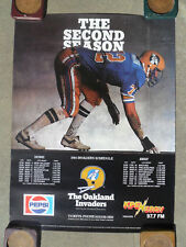 USFL Football Poster Shedule 1984 Oakland Invaders