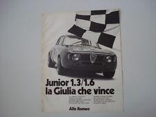 advertising Pubblicità 1972 ALFA ROMEO GIULIA GTA JUNIOR 1.3 / 1.6
