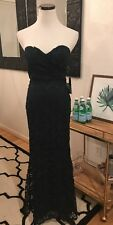 Lulus Dark Green Lace Strapless Maxi Dress Gown Formal Ball Small Wedding Guest