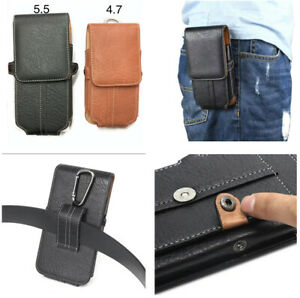 Button Belt Holster Magnetic Flip Leather Pouch Case Cover For All Mobile Phone
