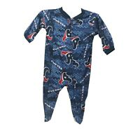 Houston Texans Official NFL Apparel Baby Infant Size Pajama Sleeper Bodysuit New