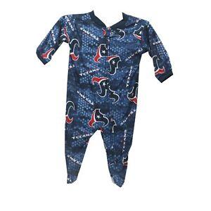 Houston Texans Official NFL Apparel Baby Infant Size Pajama Sleeper Bodysuit New