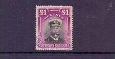 SOUTHERN RHODESIA 1924 GV ADMIRAL £1 REVENUE USED