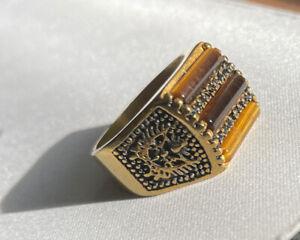 """""""STEELTIME"""" Tiger Eye Marcasite Stainless Steel Gold Tone Men's Ring Sz 10 Gr 12"""