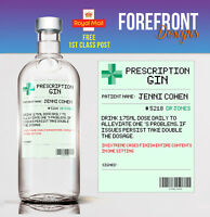 Personalised Prescription GIN spoof/funny bottle label, Birthday/Wedding/ Gift
