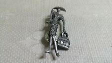 Vintage Pewter Fashionista Lady Brooch Tac Pin