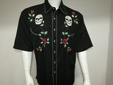 SKULLY SKULL & ROSES EMBROIDERED RETRO BUTTON UP SHORT SLEEVE SHIRT MENS SIZE L