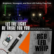 "60"" 5FT RGB Lighted 5050 LED Light Whip Quick Release w/ Remote Offroad - 1Pc"