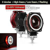 2.75'' 70W CREE LED Headlight Angel Eyes DRL Spot Light For Motorcycle Car ATV